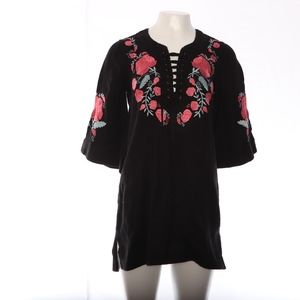 Free People Embroidered Tunic Bell Sleeve Rose XS